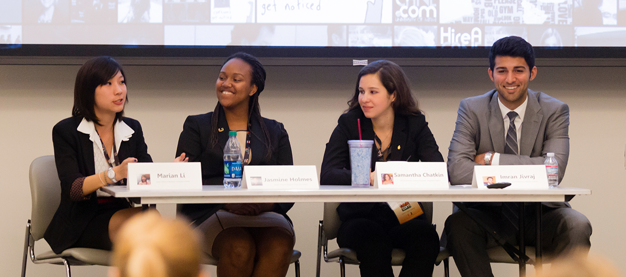 Students participating in an employer panel